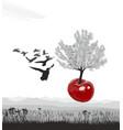 flying flowering cherry tree of cherries vector image vector image