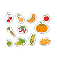 fruits and vegetables flat stickers set vector image vector image