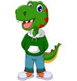 funny dinosaur cartoon standing vector image
