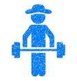 Gentleman Power Lifting Grainy Texture Icon vector image vector image