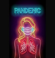 glow female silhouette with lungs and face mask vector image vector image