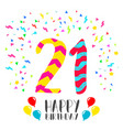 Happy birthday for 21 year party invitation card vector image