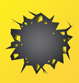 Hole cracked in the yellow wall vector image vector image