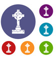 irish celtic cross icons set vector image vector image