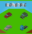 isometric transport set of truck armored car and vector image vector image