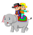 kids ride cute elephants happily vector image