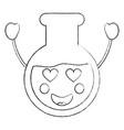 laboratory flask glass kawaii cartoon vector image