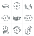 Line Icons Style Coins Icons Set Design vector image vector image