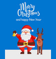 merry christmas happy new year poster santa deer vector image vector image