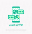 mobile support thin line icon chat on smartphone vector image