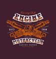 motorcycle engine repair emblem vector image vector image
