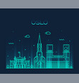 oslo city skyline norway linear style city vector image