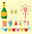 party icons celebration happy birthday surprise vector image vector image