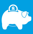 pig money box icon white vector image vector image