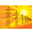 Power Transmission Line against the setting sun vector image