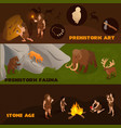 primitive people banners set vector image vector image