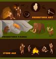 primitive people banners set vector image