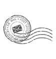 round air mail black postmark with envelope sign vector image vector image