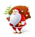 santa claus with sack and bell vector image