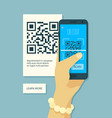 scanning qr code hand holding smartphone and vector image