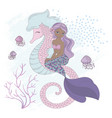 sea friend mermaid underwater horse vector image vector image