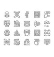 set artificial intelligence line icons chatbot vector image
