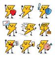 set lightning bolt character design vector image