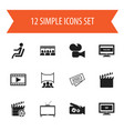 set of 12 editable cinema icons includes symbols vector image vector image