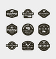 set of vintage butchery logos retro styled meat vector image vector image