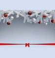 snowy branches decorated with baubles vector image vector image