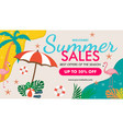 tropical summer summer sale banner template vector image vector image