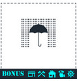 umbrella and rain icon flat vector image vector image
