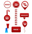 vector red sale set stamp discount tags labels vector image