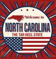 welcome to north carolina vintage grunge poster vector image