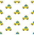 yellow cartoon taxi seamless pattern vector image
