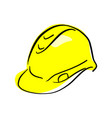 yellow hard hat sketch hand drawn vector image
