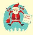 Bullfinch and Santa Claus flying in winter blue vector image