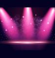illumination of the stage podium spotlights vector image