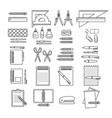 set of hand drawn black line stationer vector image