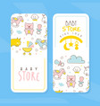 bastore card templates set kid products and vector image