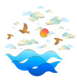 beautiful seascape with sea waves birds clouds vector image
