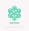 blockchain thin line icon vector image vector image