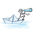 businessman looks through telescope on paper boat vector image