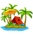 camping on island vector image vector image