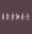 cartoon doctor or scientist character set vector image vector image