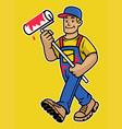 cartoon happy wall painter worker mascot vector image vector image