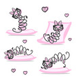 cat with bow set vector image