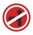 circular contour road sign prohibited turn right vector image vector image