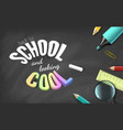 colorful text and school supplies on black vector image vector image