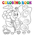 coloring book happy butterfly topic 4 vector image vector image